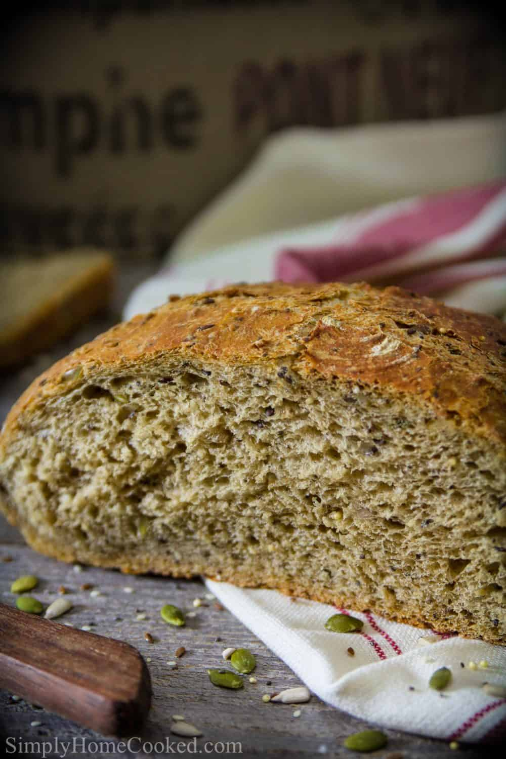 harvest bread with 4 grains and 5 types of seeds