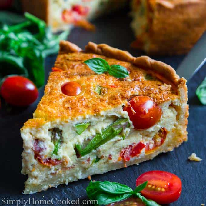 Quiche Loraine with asparagus, bacon, and tomatoes