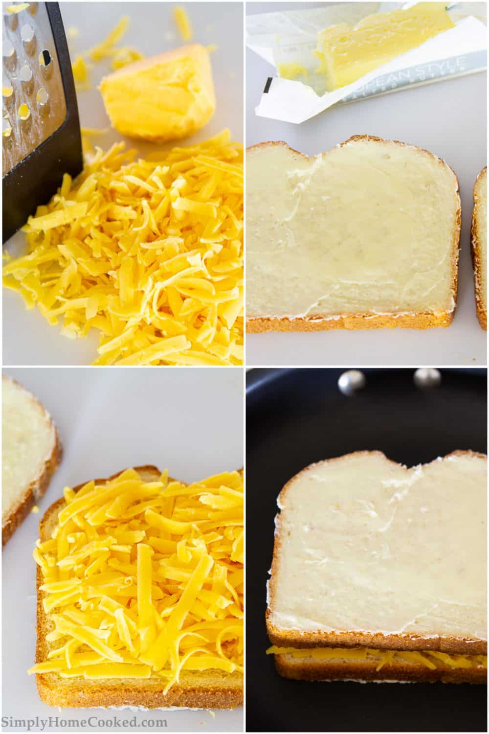 Step by step photo collage of how to make a grilled cheese sandwich