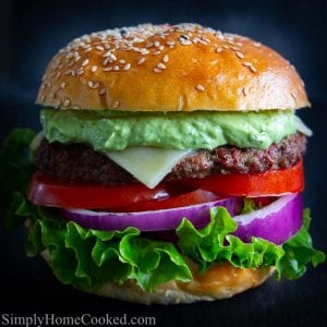 Burger with avocado sauce