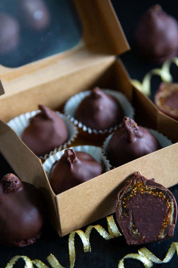 Homemade fig bonbons in a box