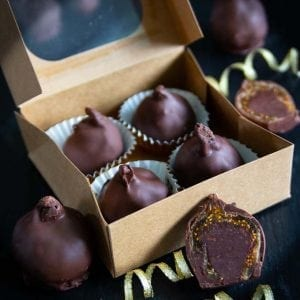 Ganache filled figs dipped in chocolate