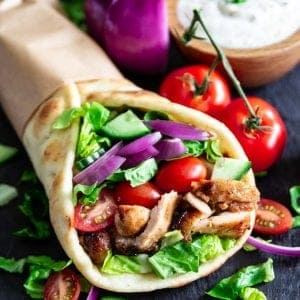 Flatbread stuffed with grilled chicken and vegetables