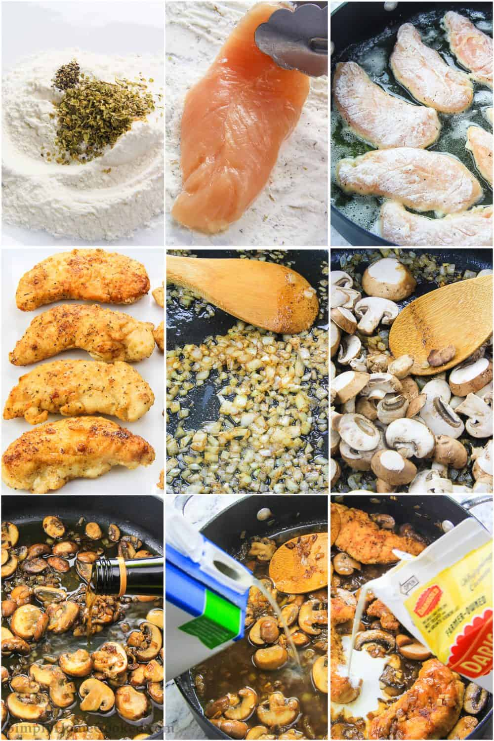 step by step photo collage of how to make easy chicken marsala