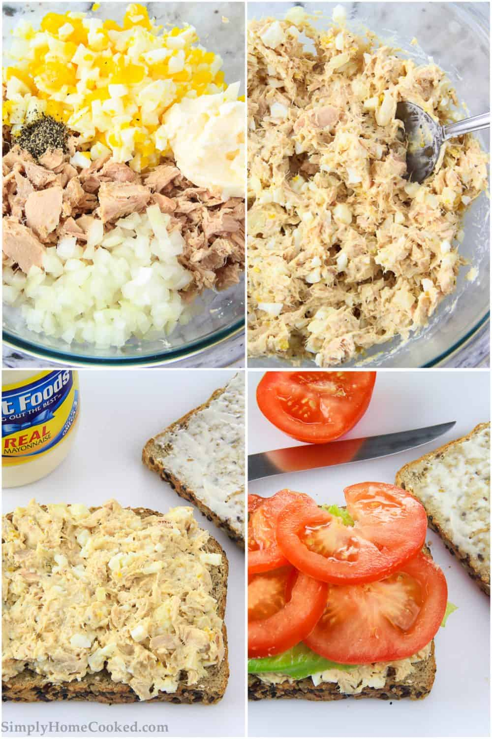 steps to make a tuna salad sandwich. tuna, hard boiled egg, and chopped onion in a glass bowl.