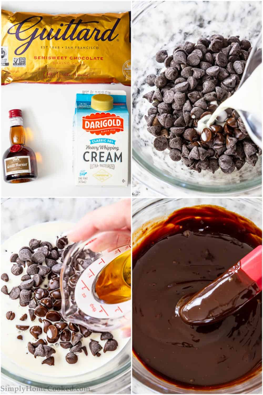 ingredients for chocolate ganache, chocolate chips and heavy cream in a bowl, melted