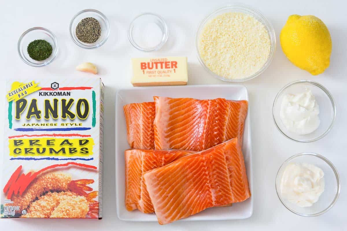 overhead image of ingredients for panko parmesan salmon