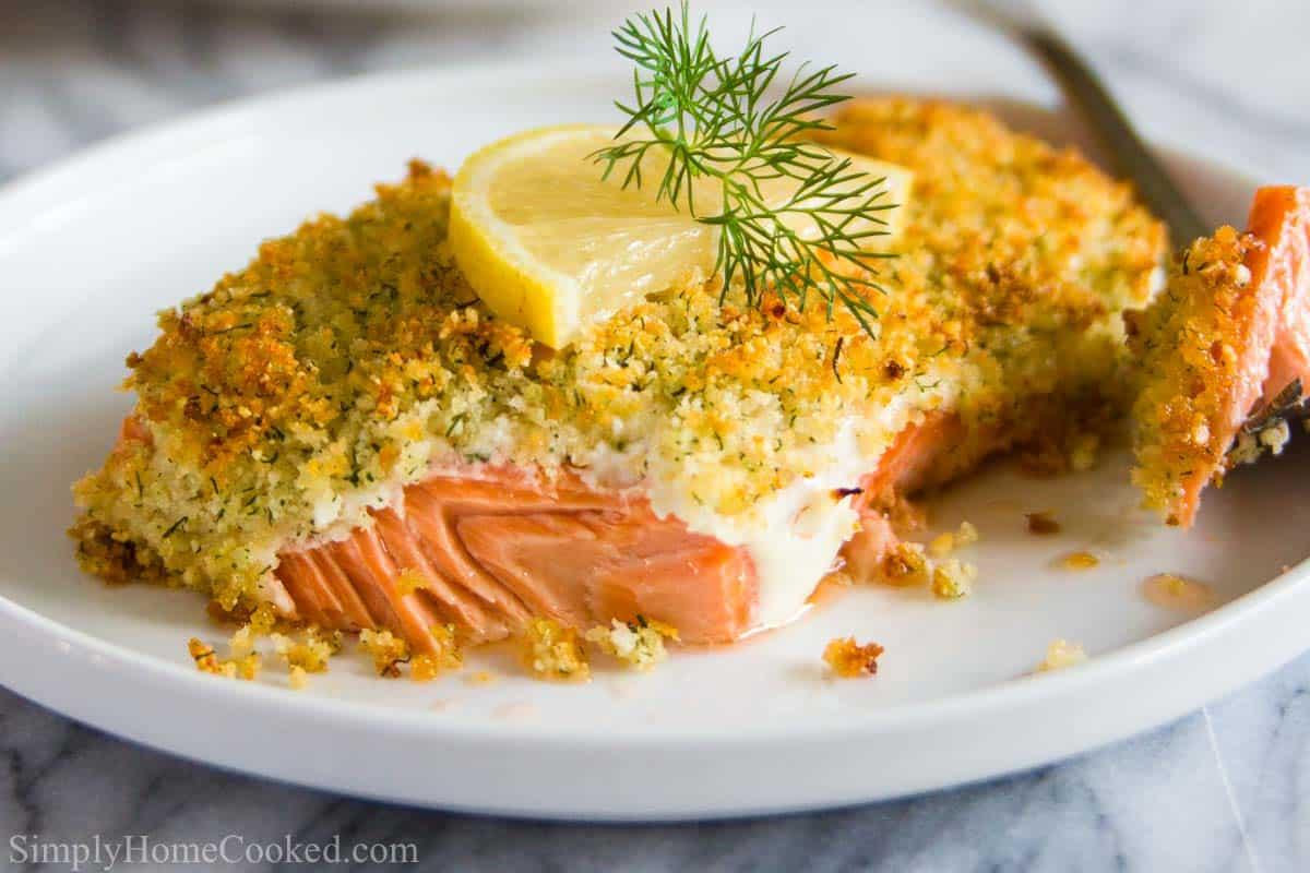 horizontal image of baked panko salmon with panko crust