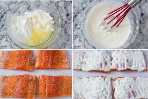 4 image collage of steps to make panko salmon