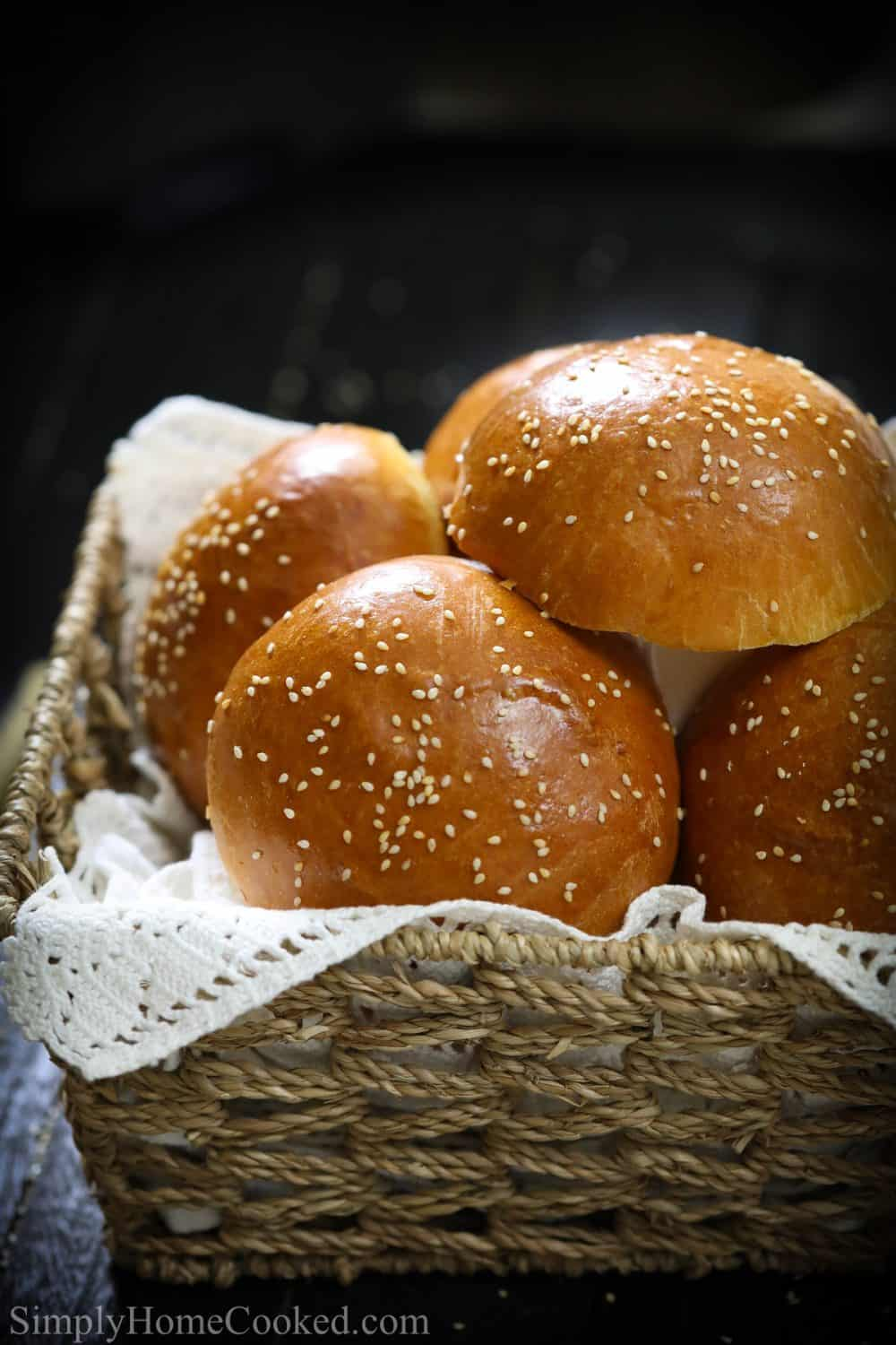 brioche buns in a basket