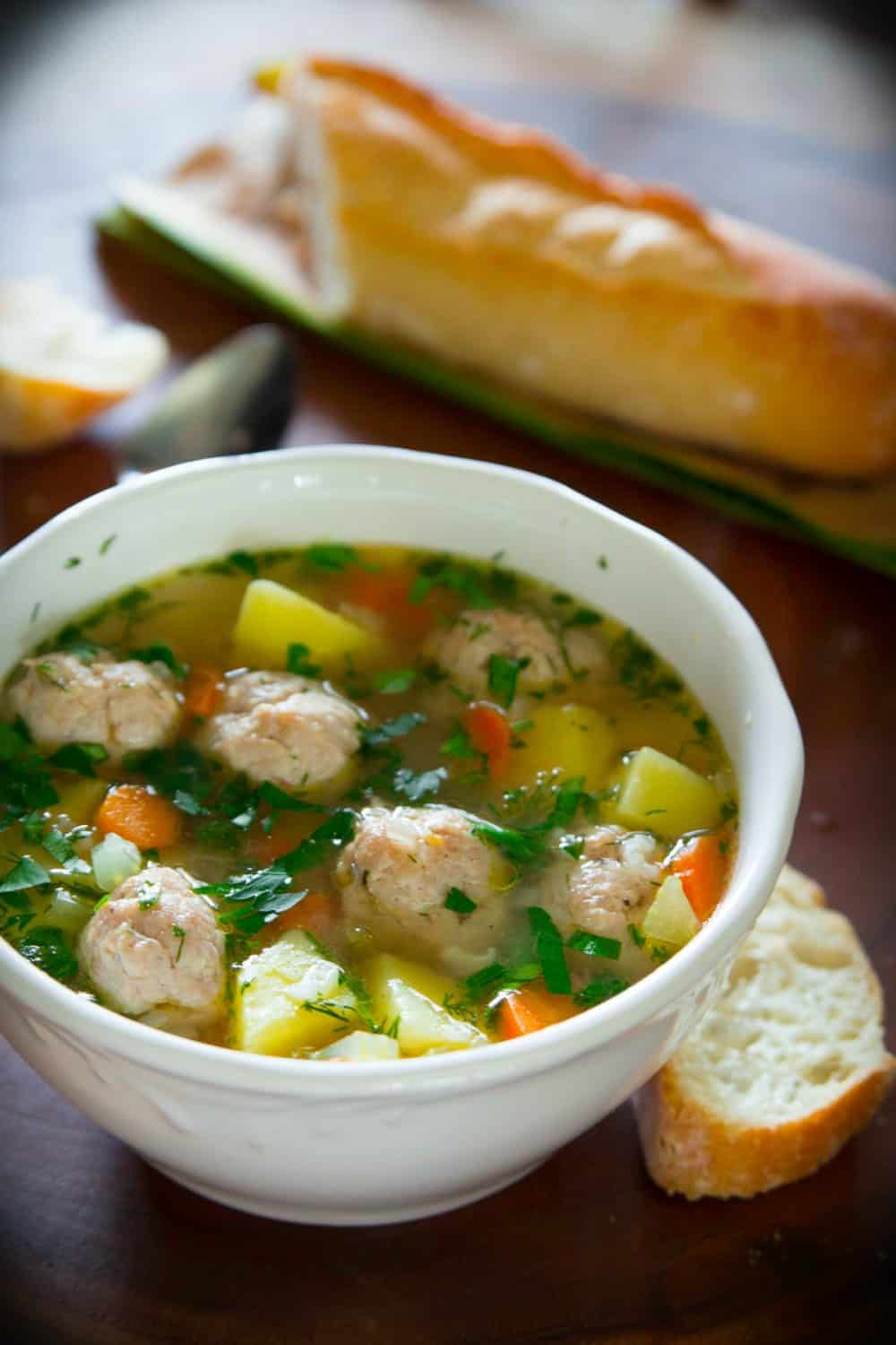 Homemade Chicken Meatball Soup Simply Home Cooked
