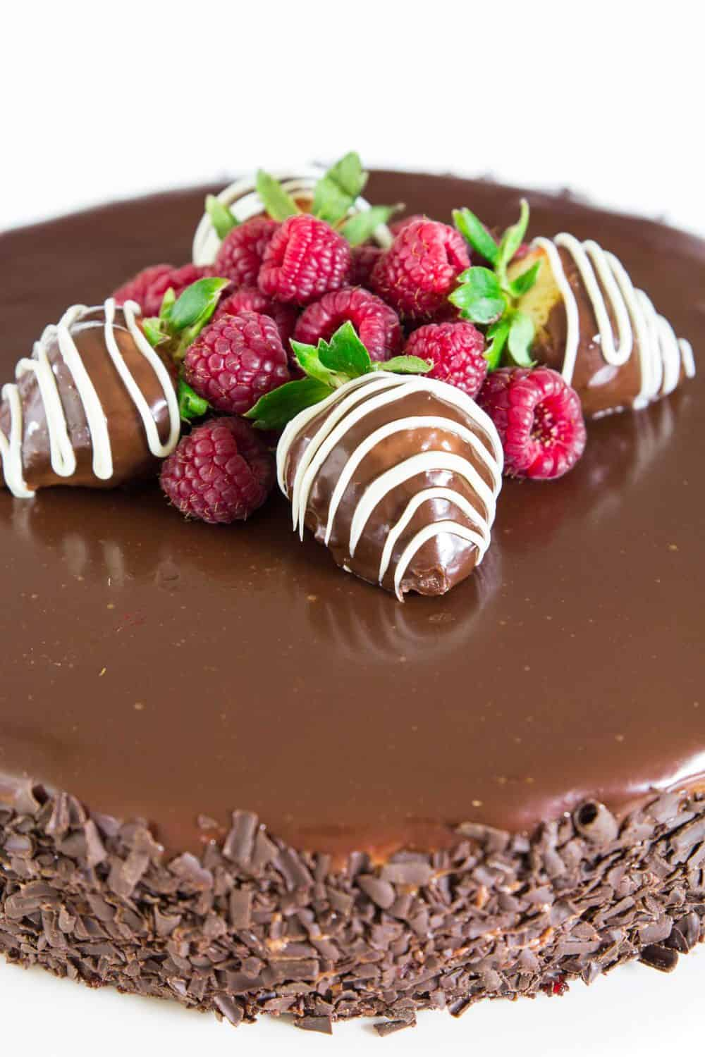 Decorate your chocolate mousse cake recipe with a lovely chocolate covered strawberry or a handful of fresh raspberries.