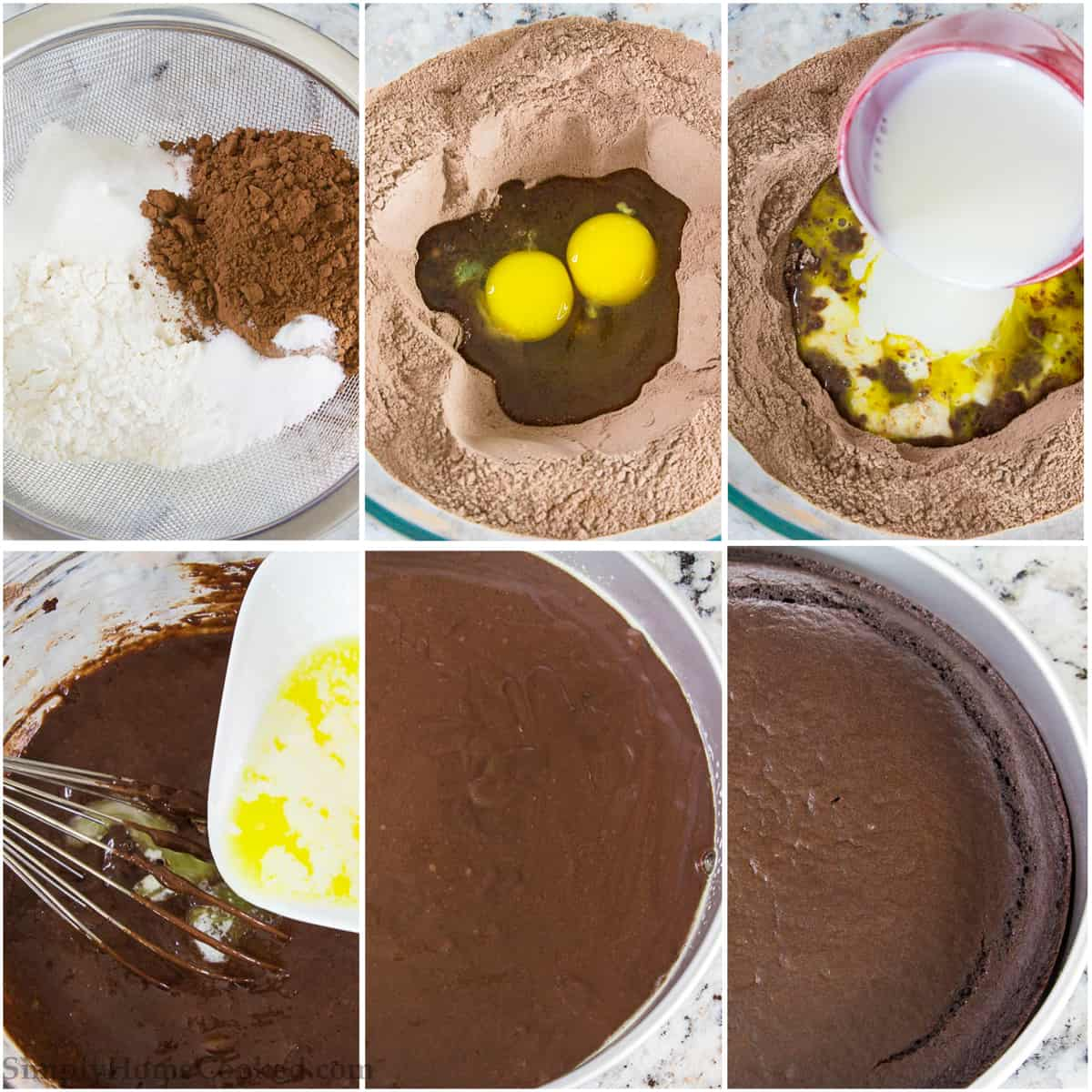 Start with sifted dry ingredients for the best results in making this chocolate mousse cake recipe