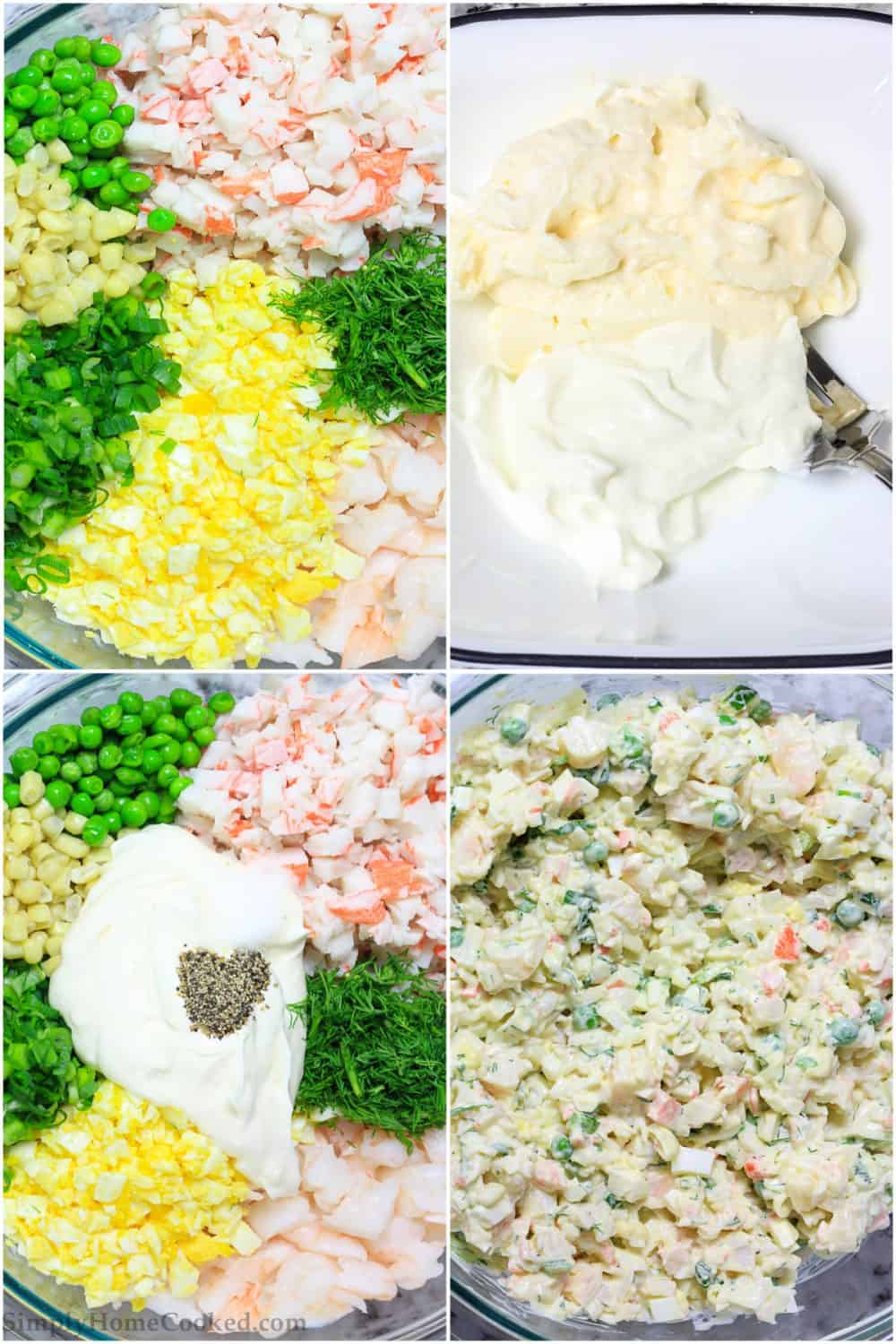 The small pieces of this delicious imitation crab salad make it a fun recipe to make and serve as a party appetizer or a great luncheon for your guests.
