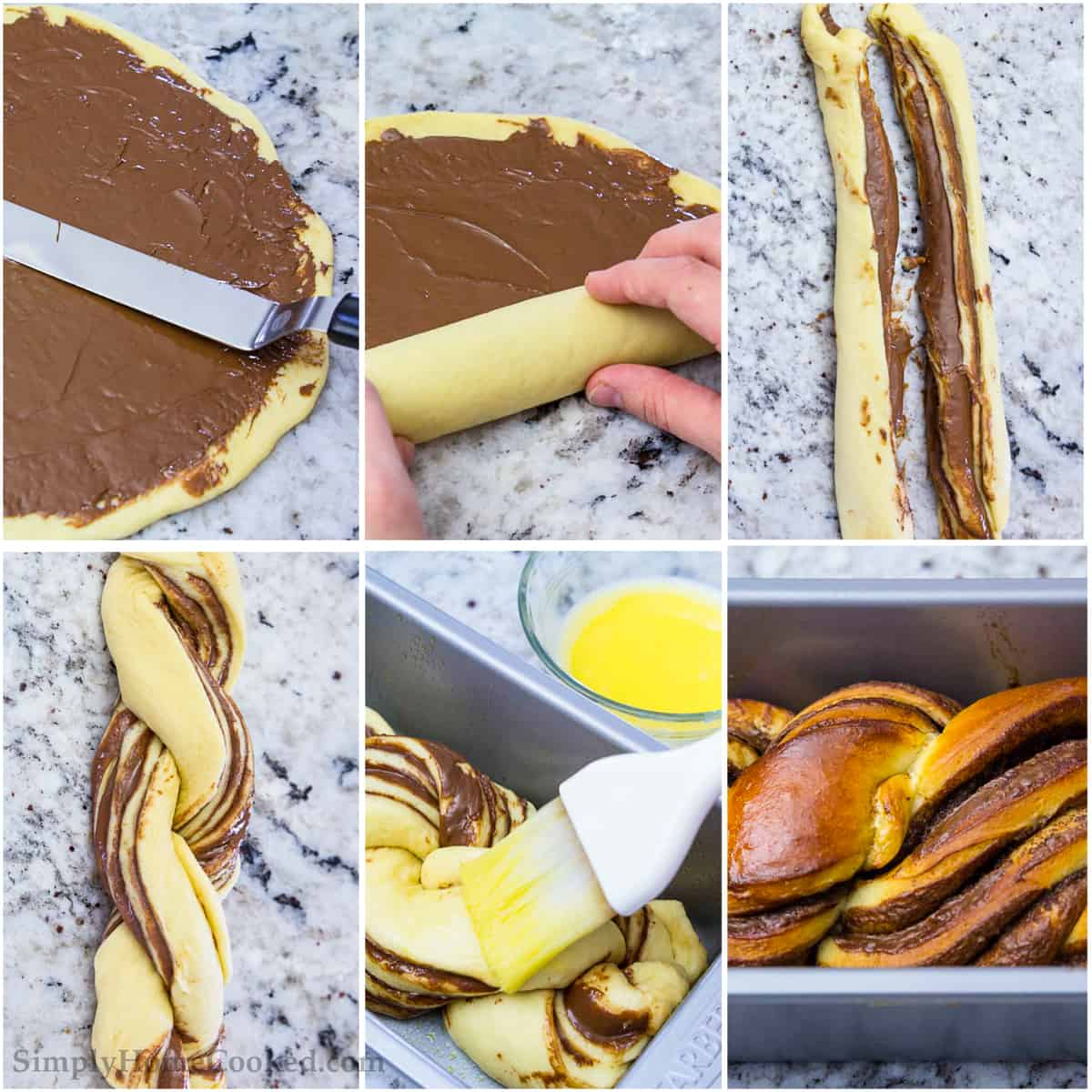 Roll out your Brioche bread dough and coat with Nutella and butter to braid and create a beautiful and delicious sweet bread recipe.