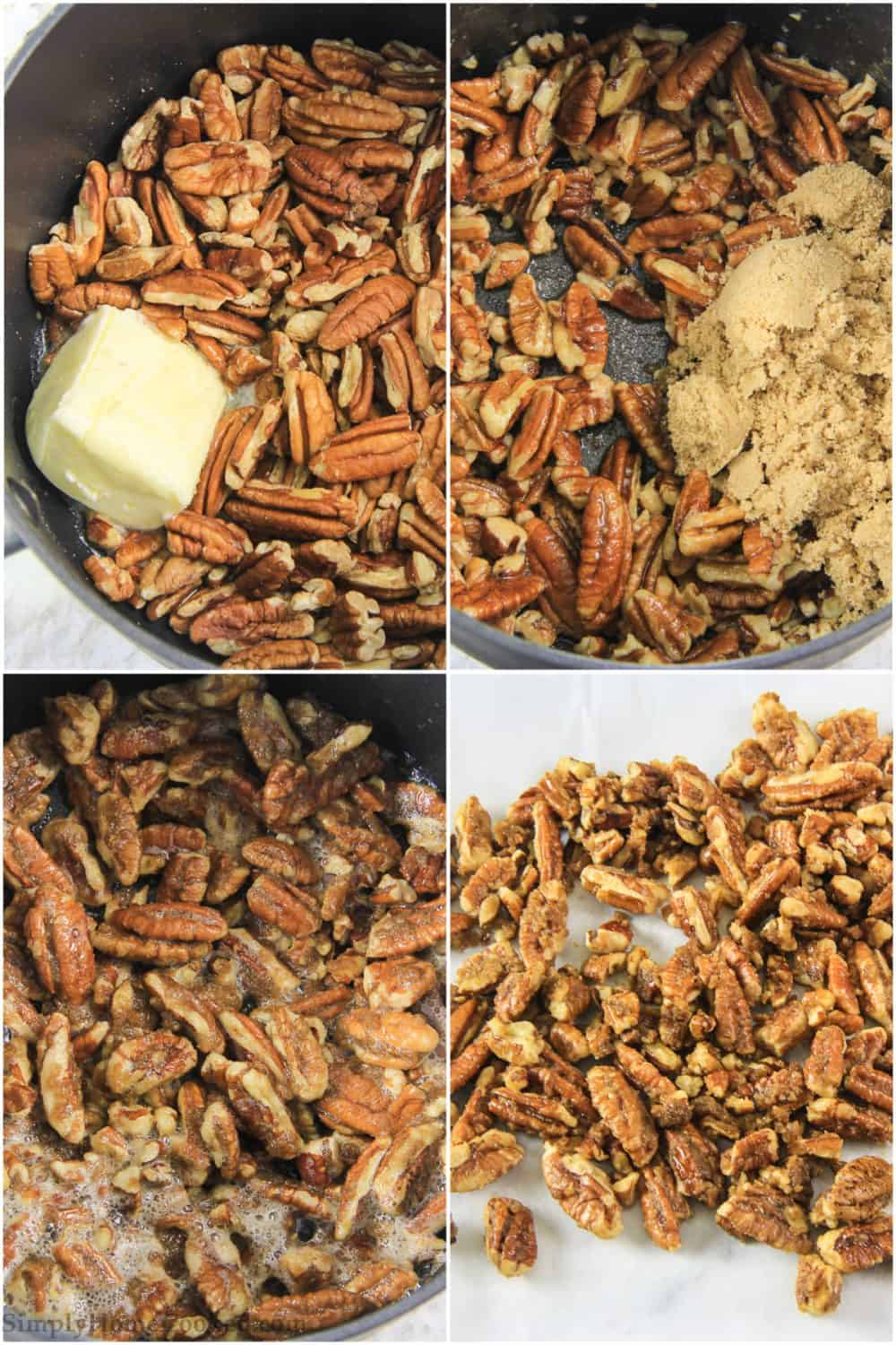 step by step photo collage of how to make stovetop candied pecans