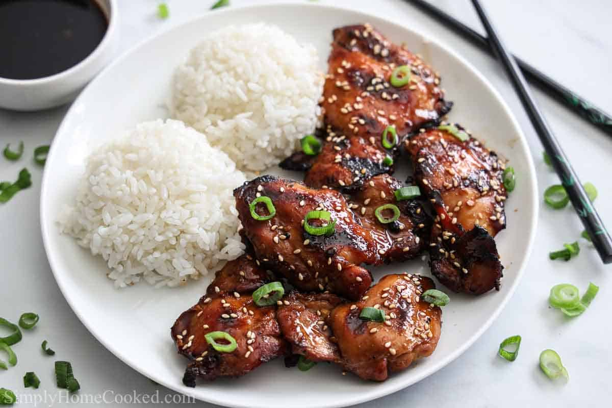 Close up of plate of Grilled Teriyaki Chicken with rice and sauce nearby