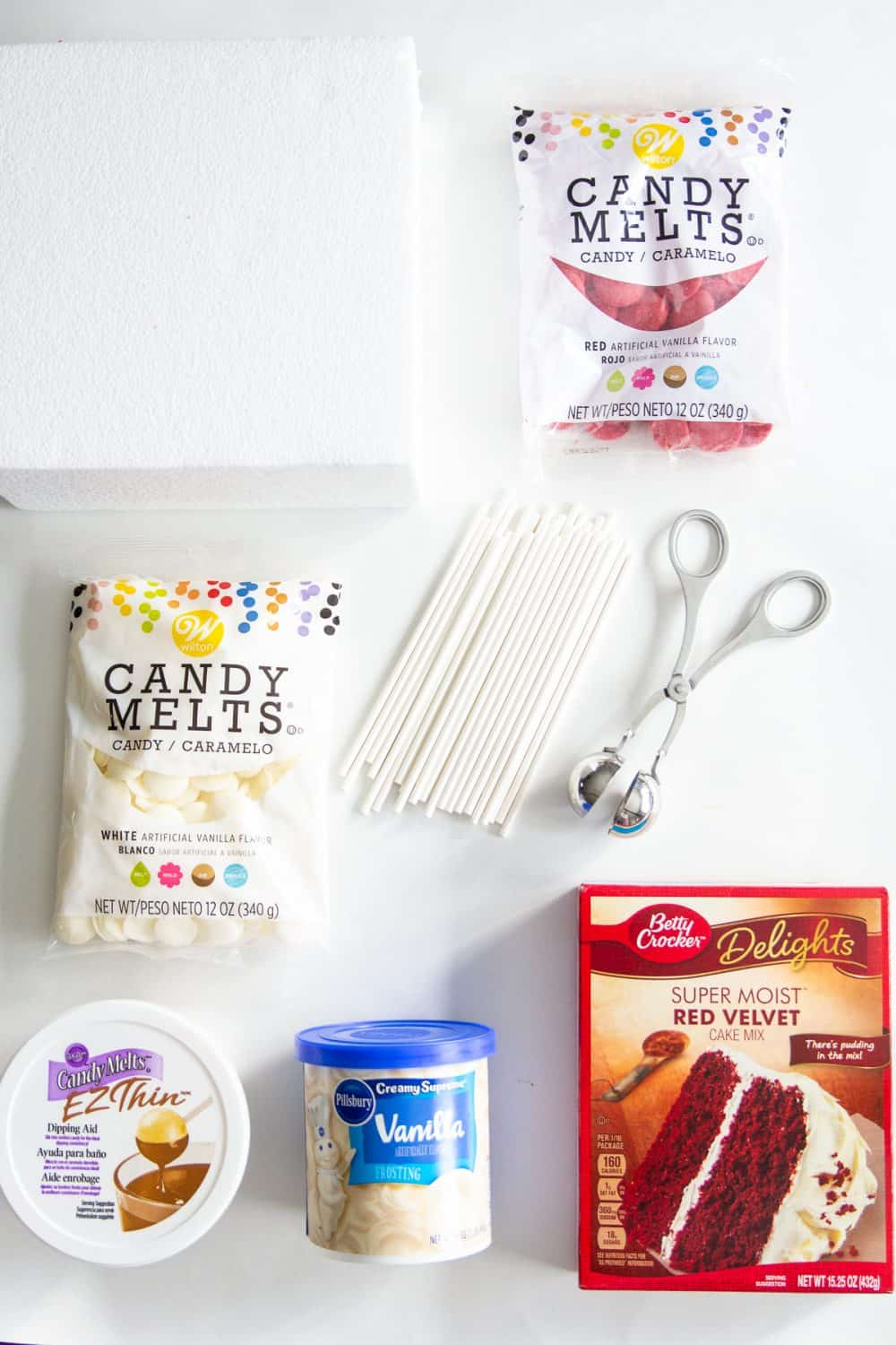 simple and easy ingredients for cake pops with red velvet cake mix