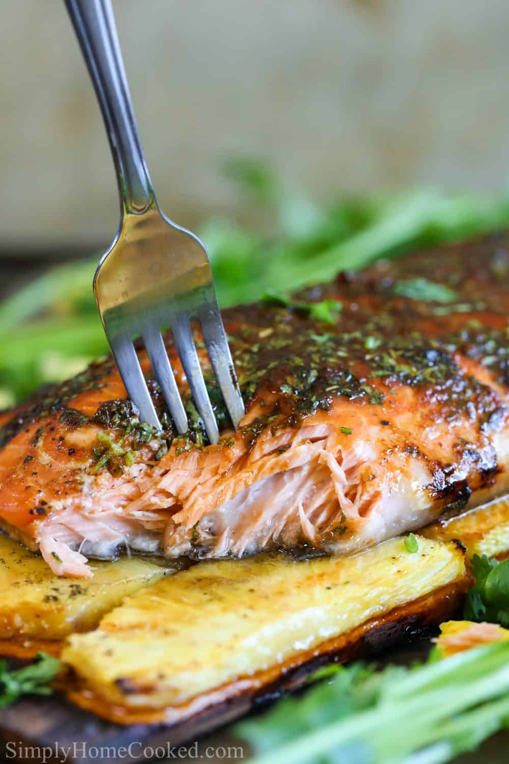 grilled salmon on a cedar plank with pineapples under and a fork piercing through the fish