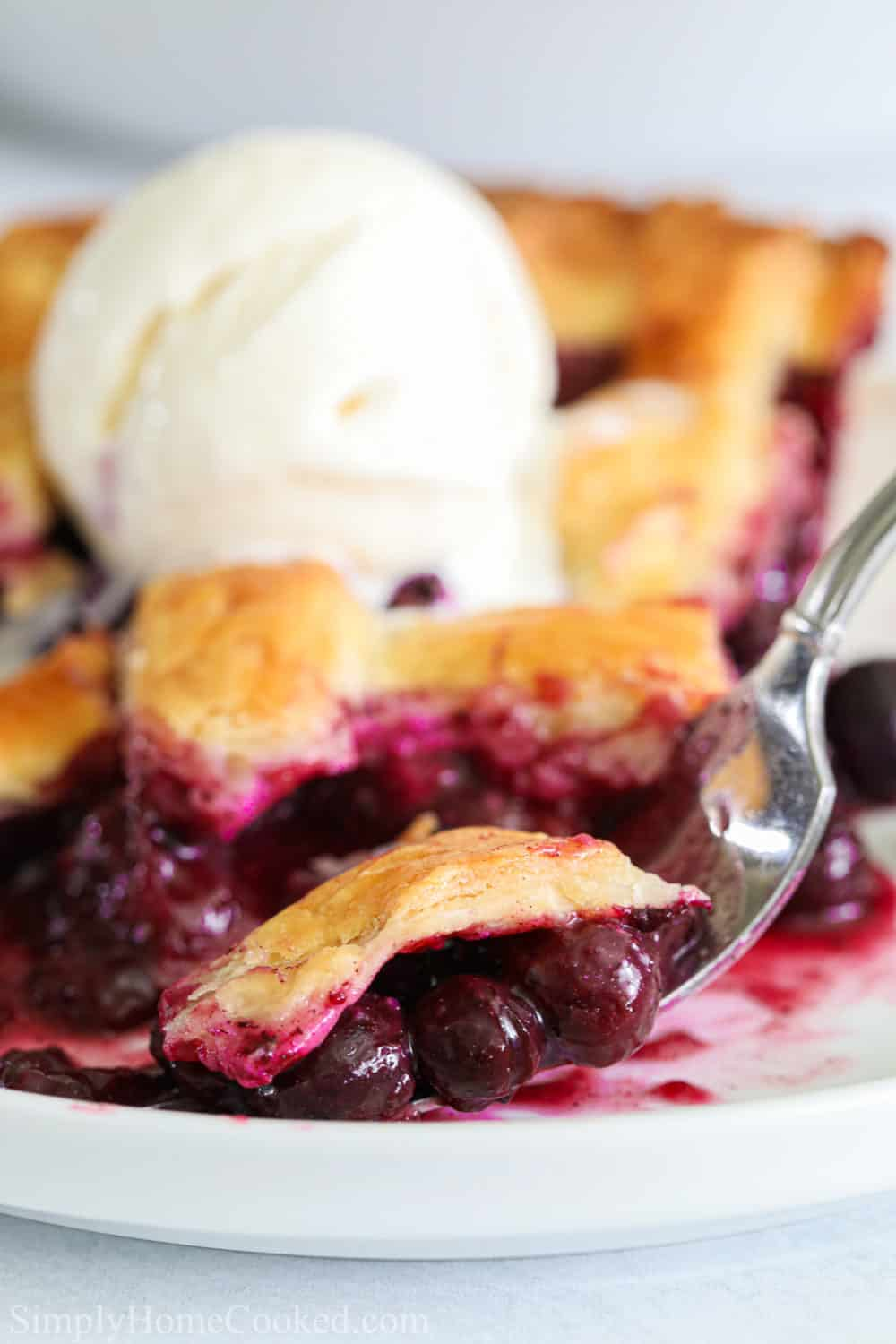 close up image of homemade blueberry pie sliced