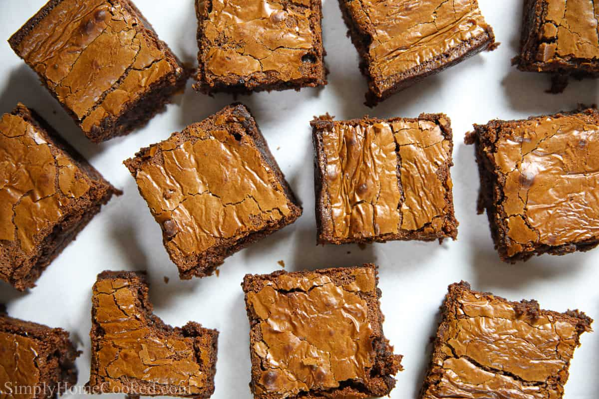 overhead photo of baked Nutella gluten free brownies on a white background
