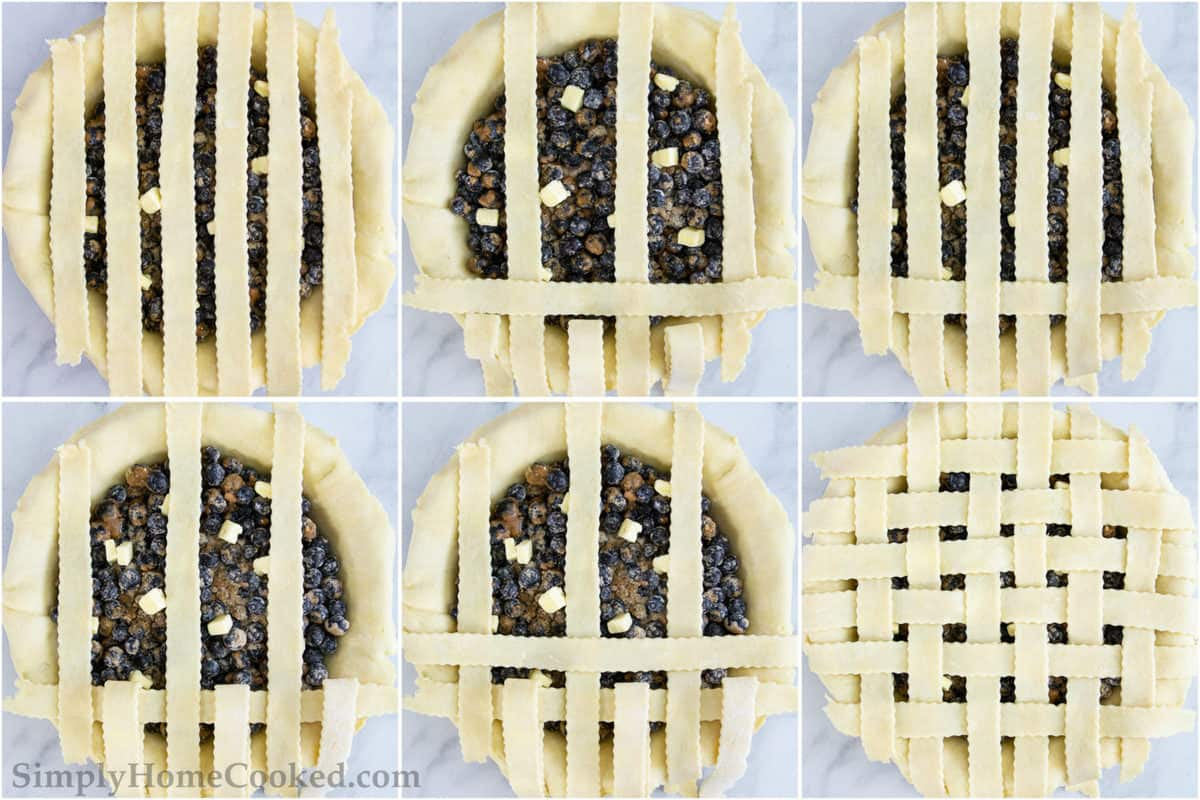 an overhead photo of steps on how to make lattice pie crust
