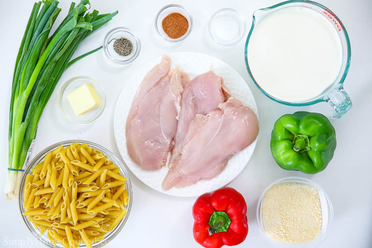 overhead photo of all the simple ingredients needed for cajun chicken pasta