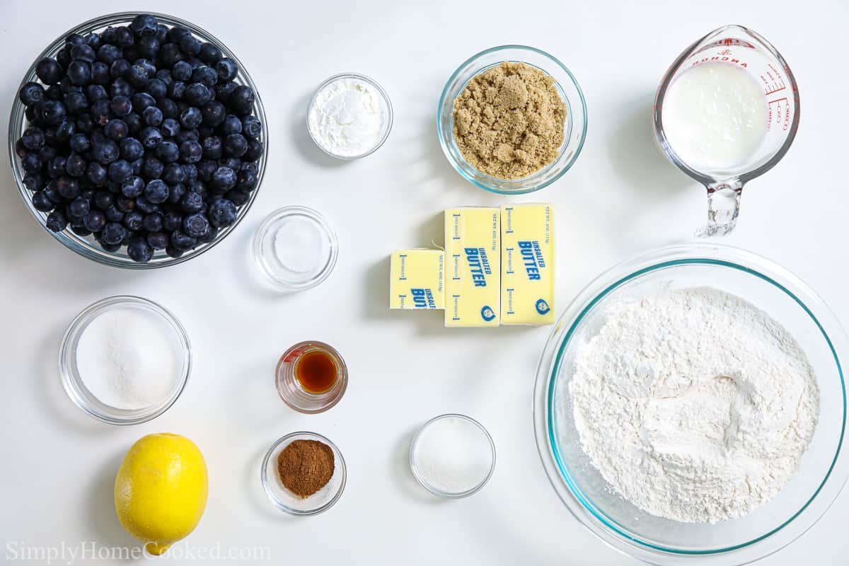 over head shot of ingredients for blueberry muffins