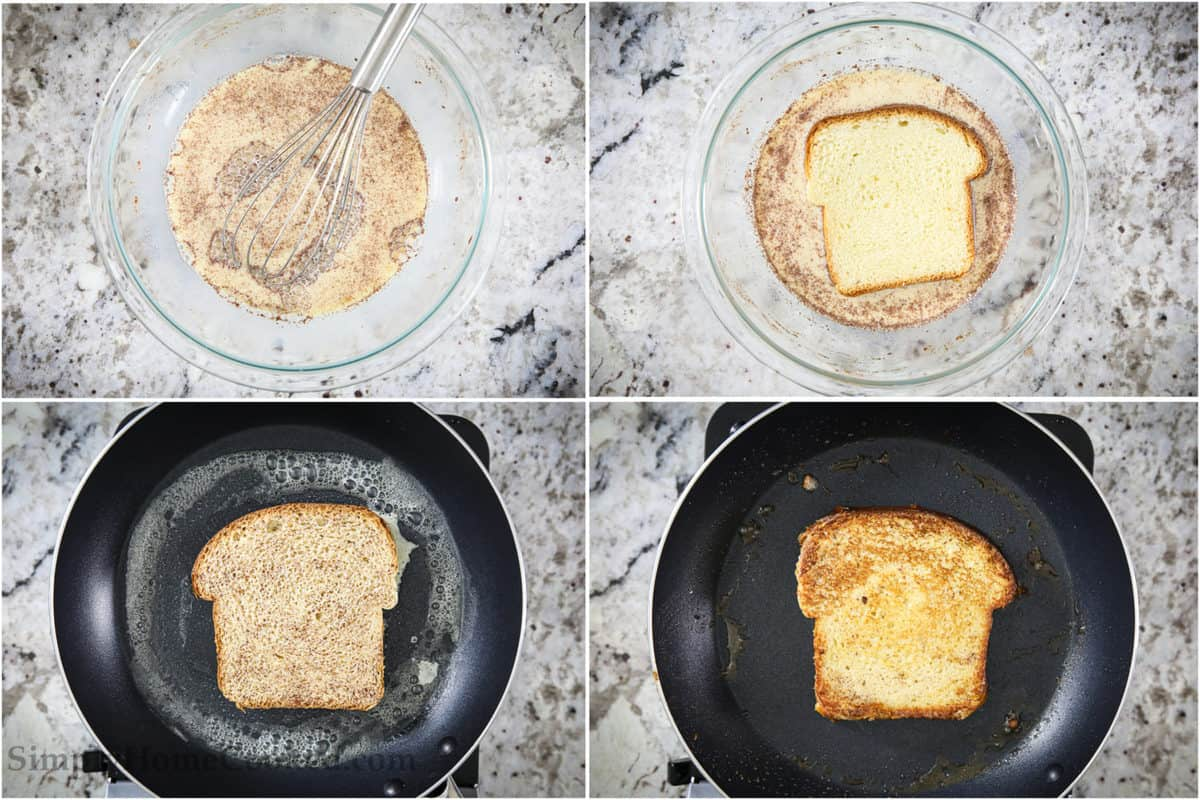 step by step image collage of how to make the best french toast with brioche bread
