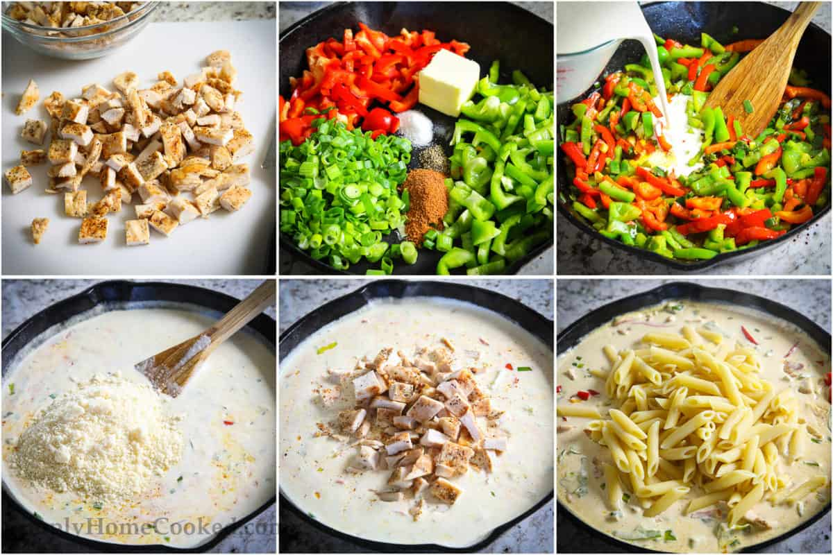 step by step photo instructions on how to make cajun chicken pasta