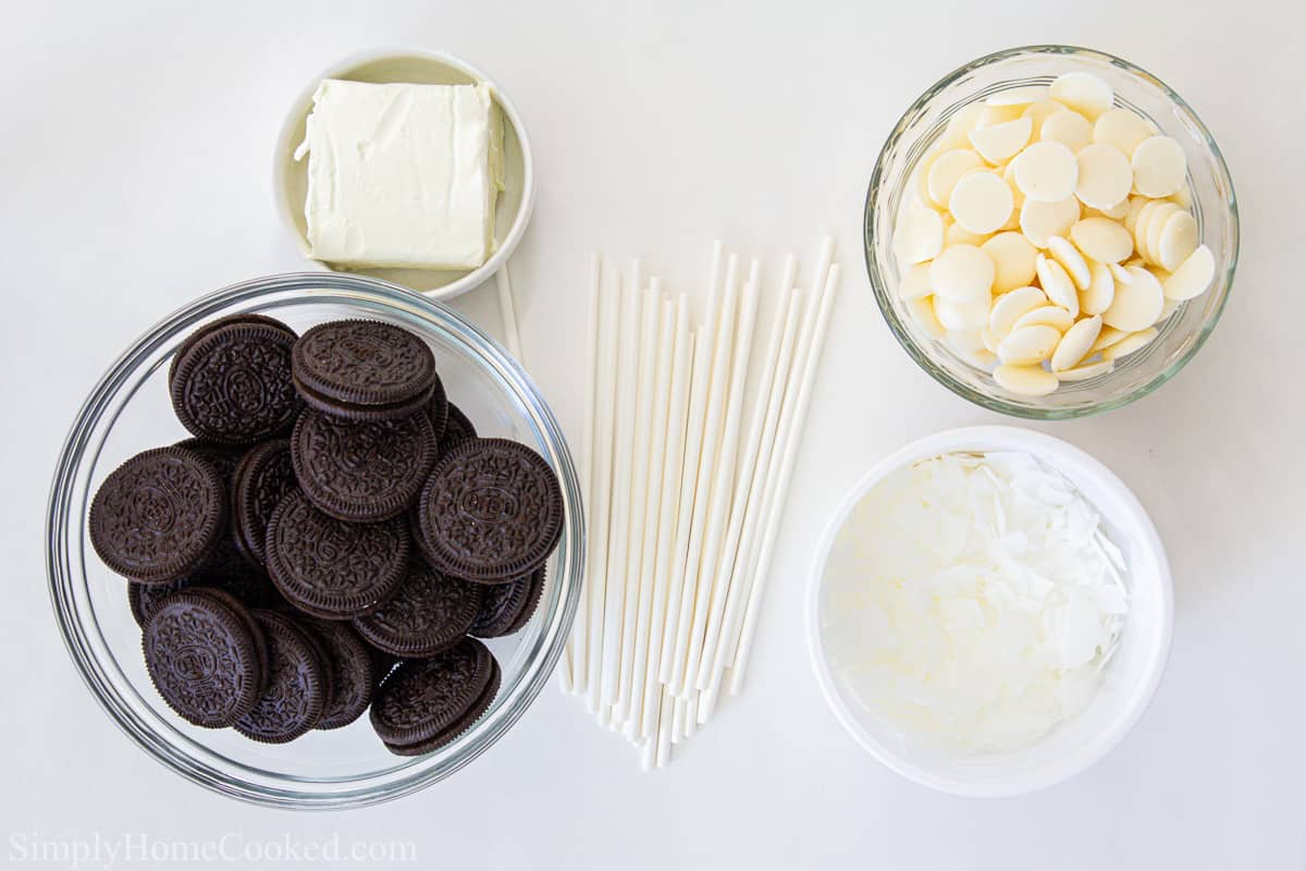 overhead image of ingredients for Oreo cake pops
