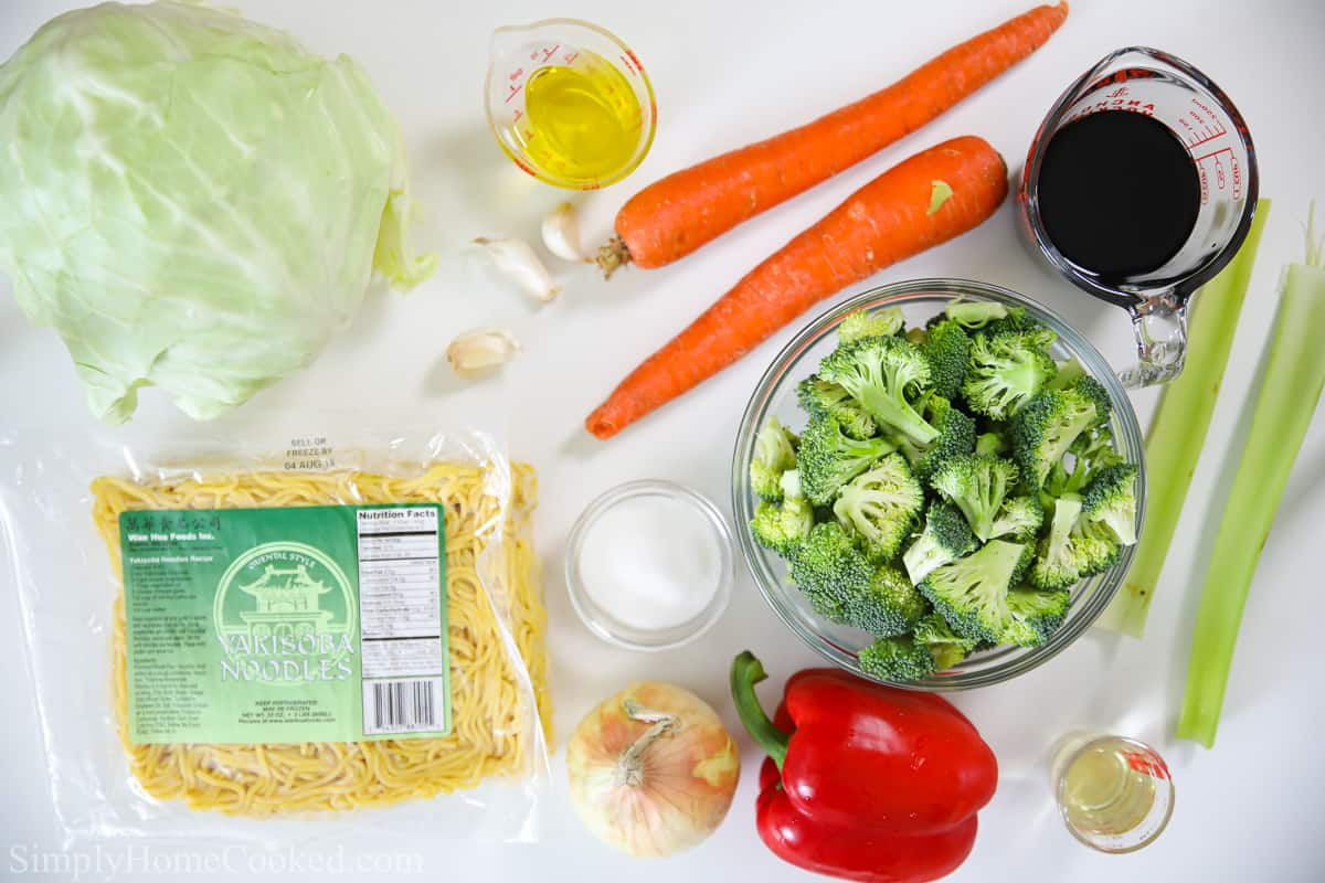 overhead image of chow mein ingredients on a white background
