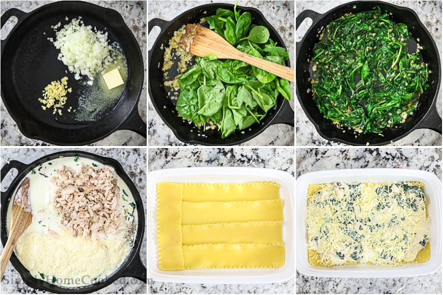 a 6 picture collage that shows all the easy steps of how to make a chicken alfredo lasagna