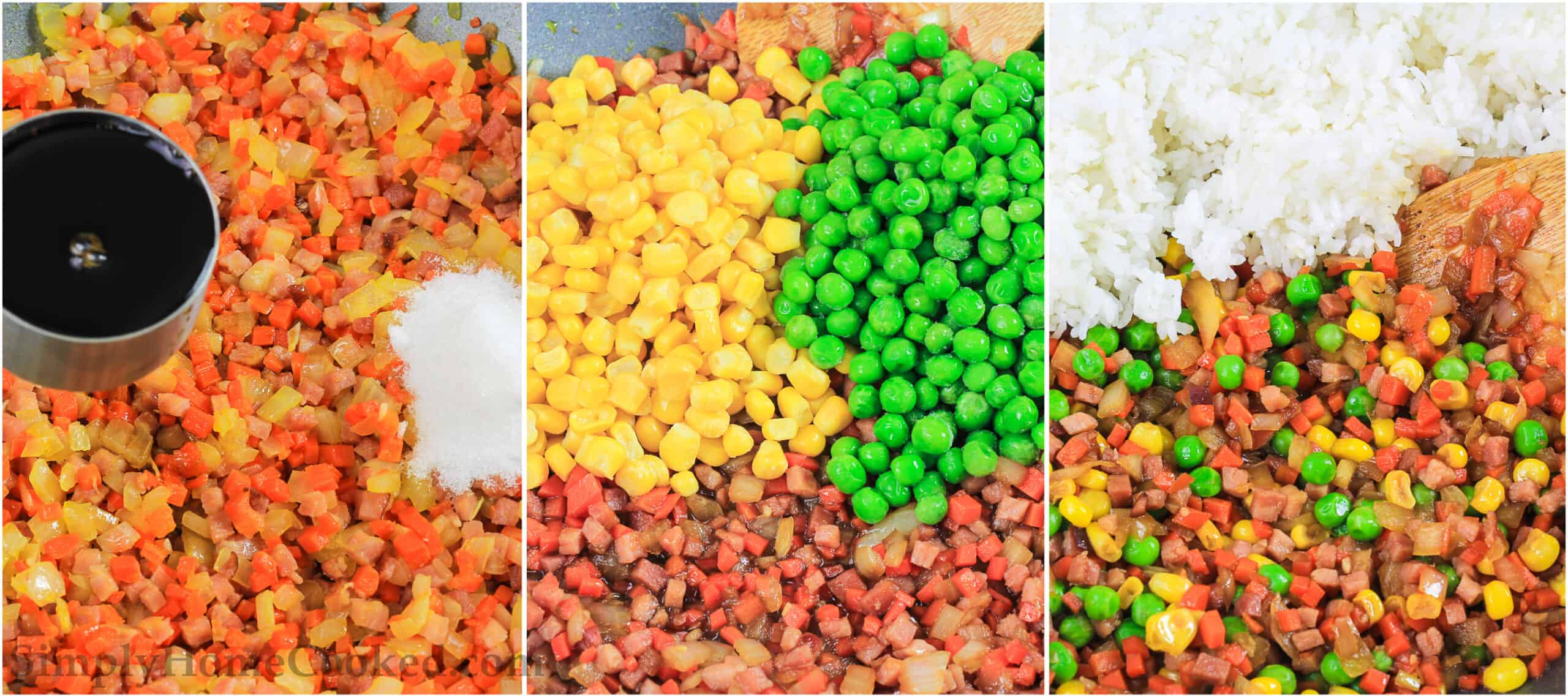 A three image collage on how to make pork fried rice with corn, peas, and diced ham