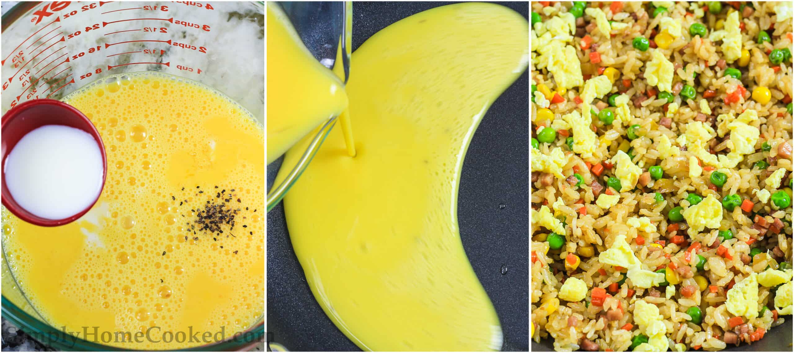 A three image collage on how to make pork fried rice with fried egg on top