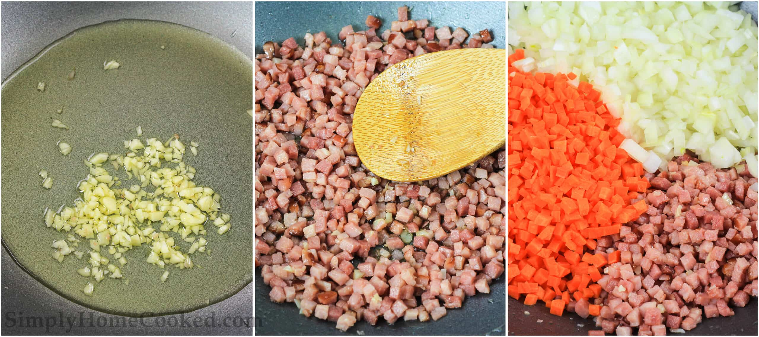 A three image collage on how to make pork fried rice