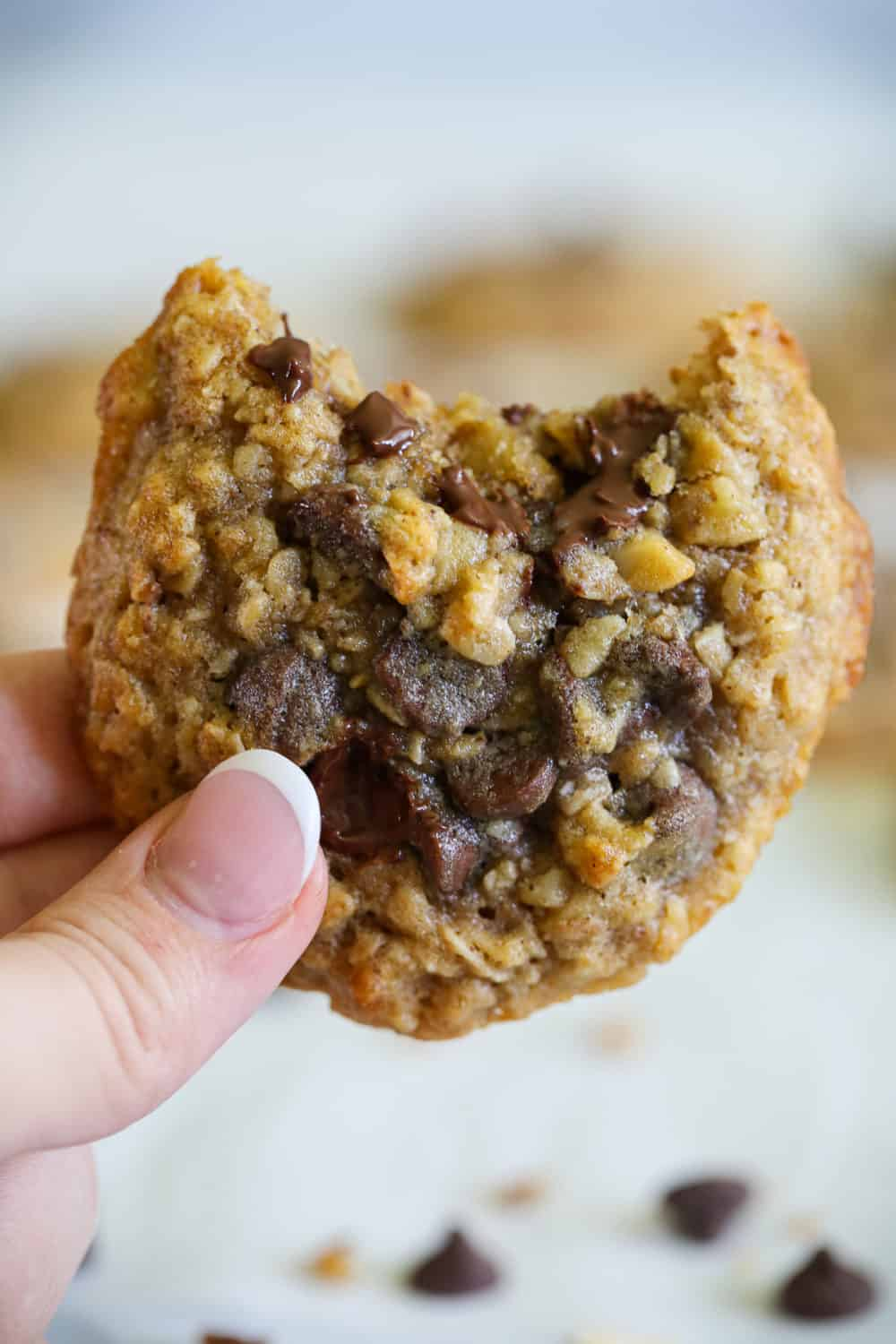 a zoomed in photo of a hand holding a bitten chewy oatmeal chocolate chip cookie