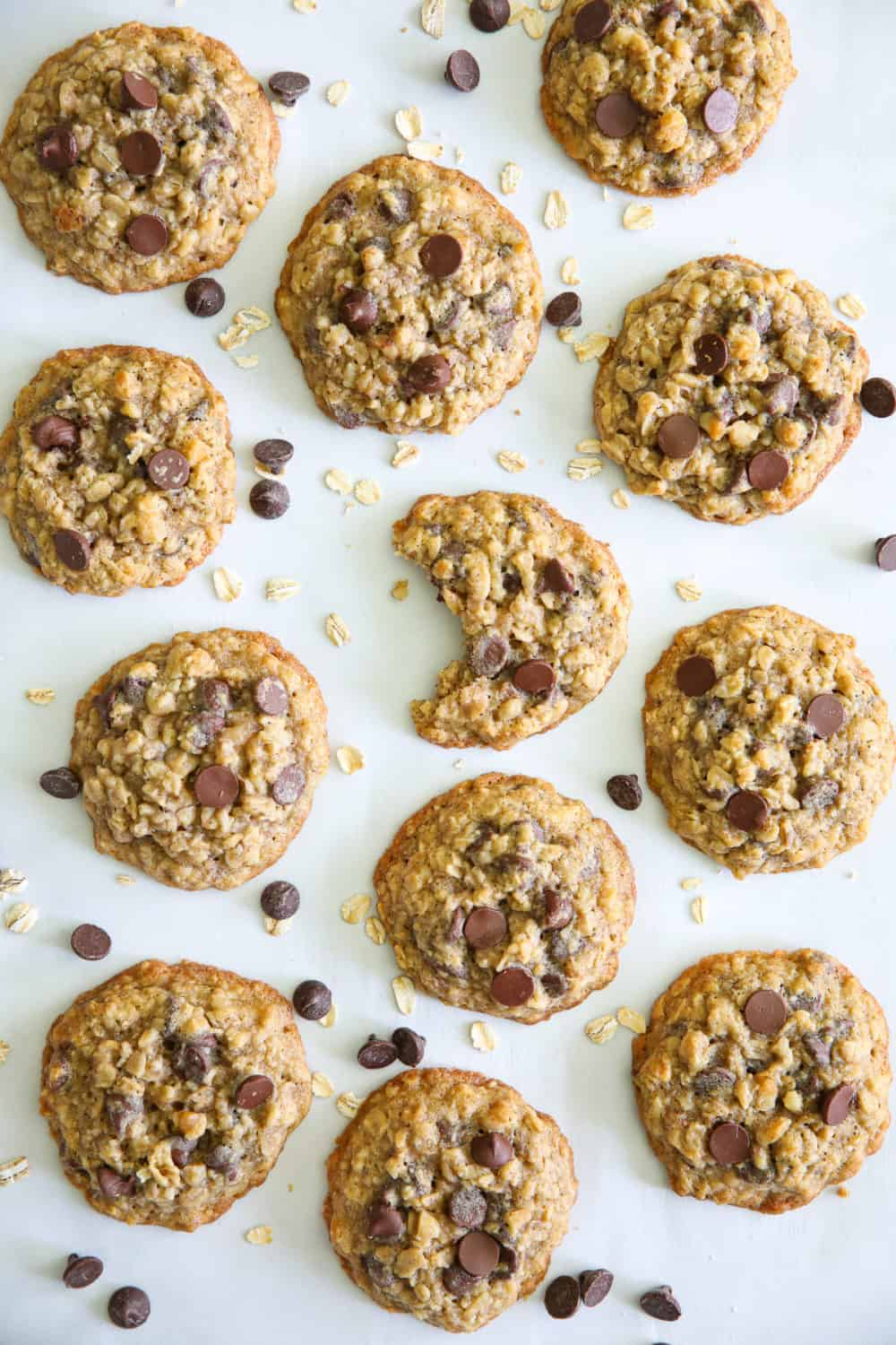 an overhead image of 12 baked oatmeal chocolate chip cookies scattered on white parchment paper with oatmeal and chocolate chips around them