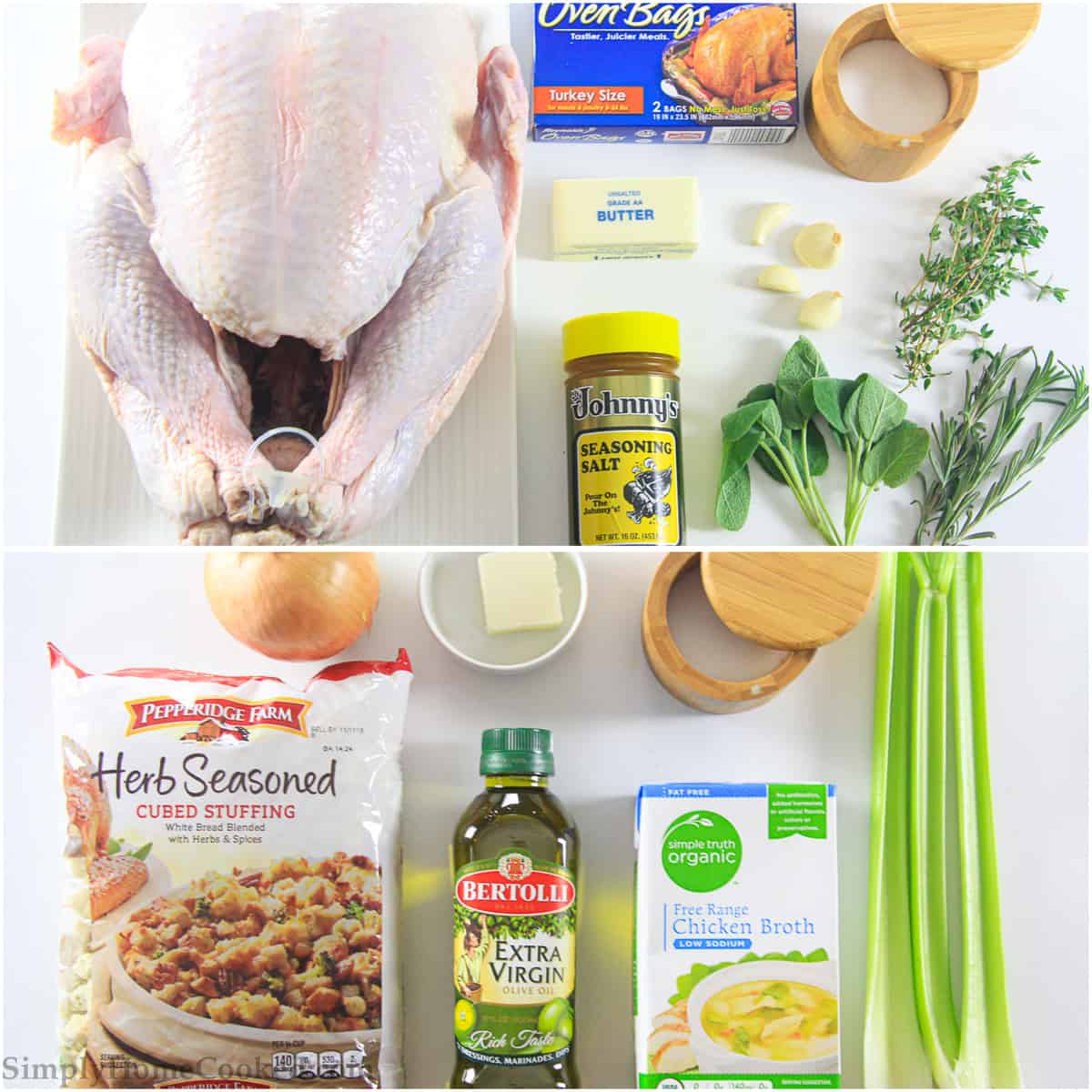an overhead image of ingredients needed to make the juiciest thanksgiving turkey on a white background