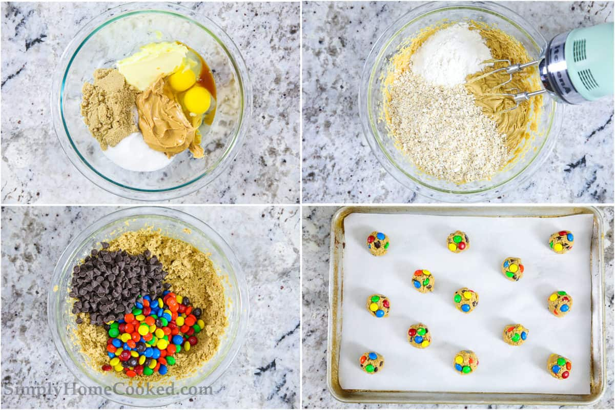 Four tiles showing steps to make monster cookies: mixing wet ingredients, then dry ingredients with a hand mixer, then adding the chocolate chips and M&Ms, and finally the balls of dough on a parchment lined baking sheet, all on a black and white marble background.