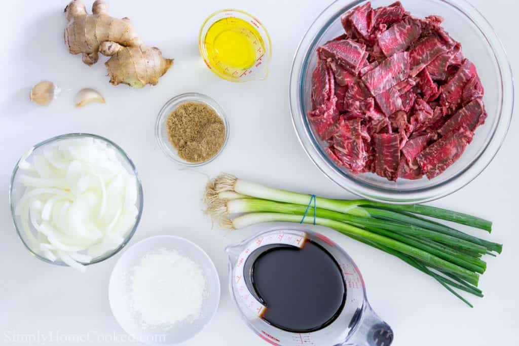 an overhead image of ingredients for mongolian beef on a white background
