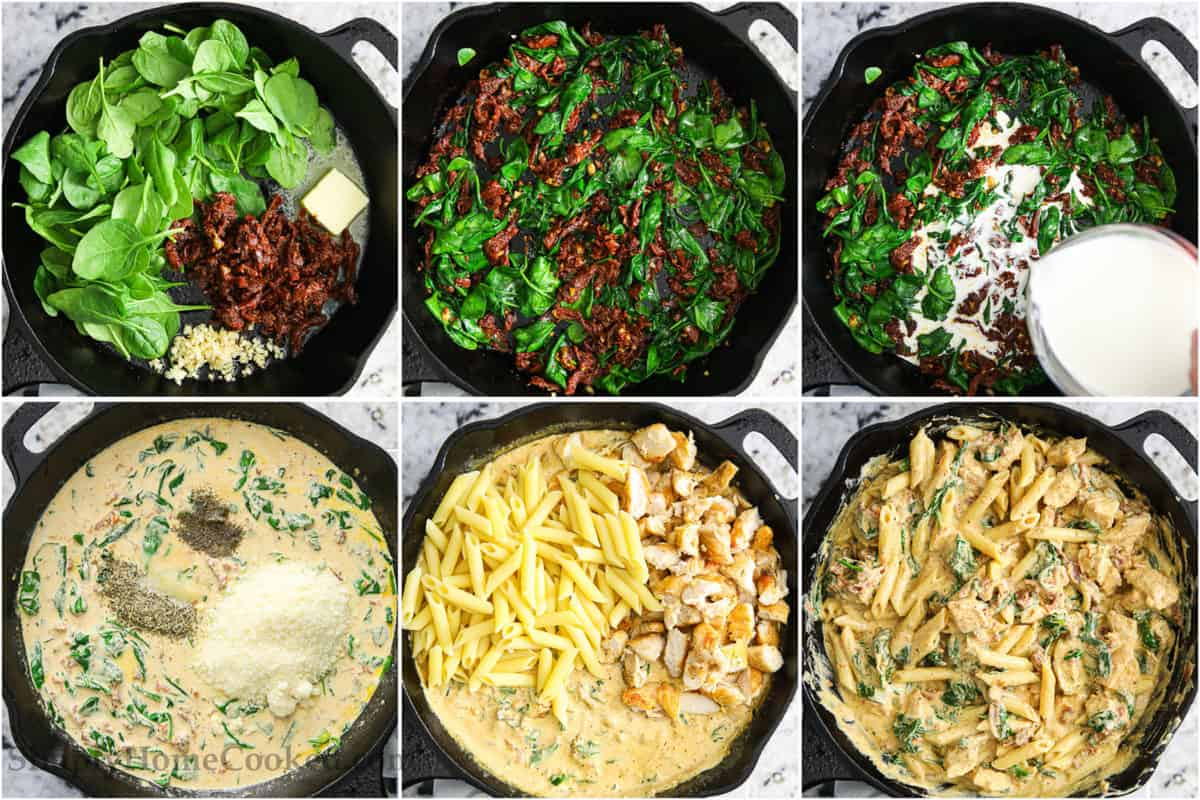 Steps to make Creamy Tuscan Chicken Pasta sauce, cooking the spinach, tomatoes, and garlic in butter and then adding heavy cream and then parmesan cheese, and finally stirring in the chicken and pasta.