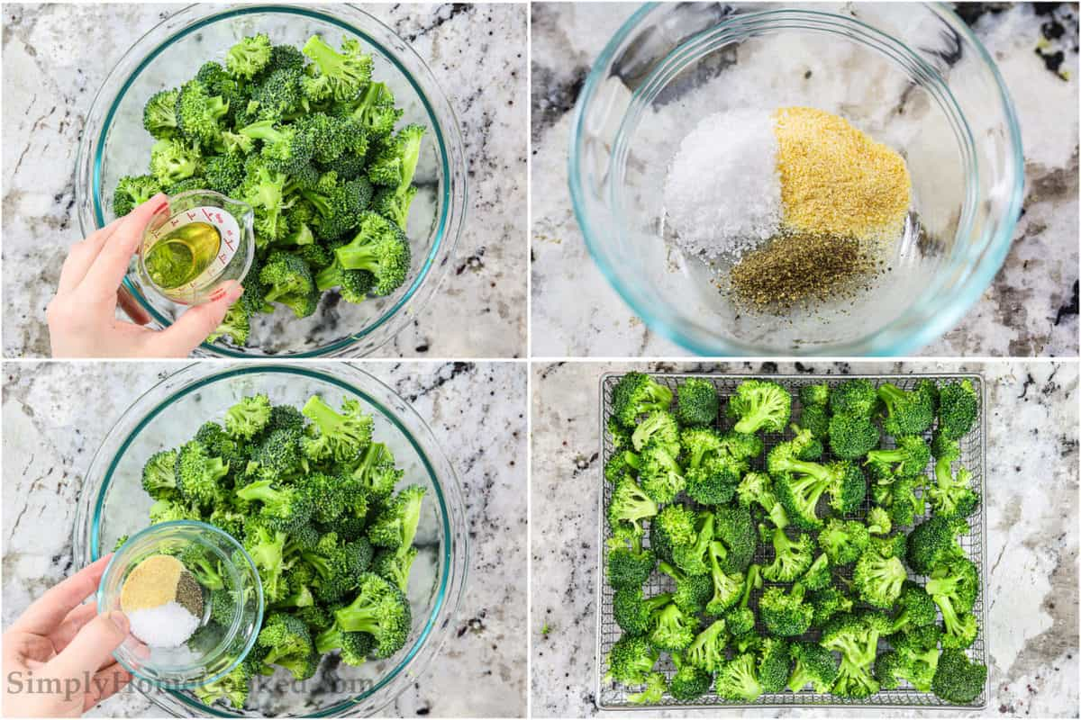 Four tiles showing the steps for making Crispy Air Fryer Broccoli, including drizzling the broccoli with oil and then mixing the seasonings and pouring them on the broccoli, and finally frying them.