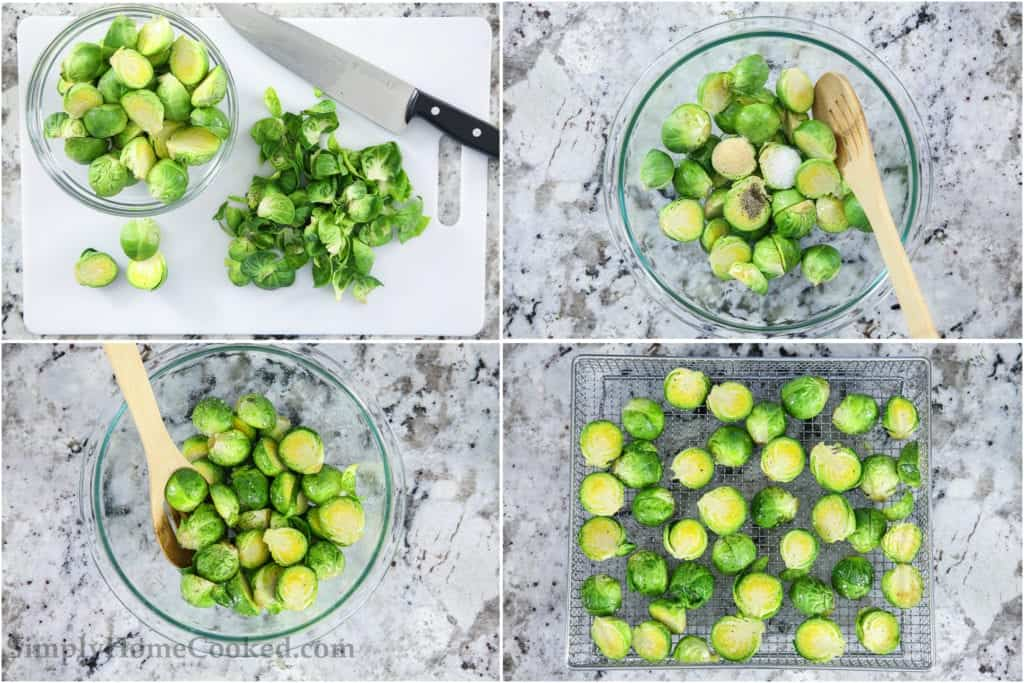 Four tiles showing the steps to make crispy brussels sprouts, including cutting them in half, seasoning them, stirring, and cooling them after cooking.