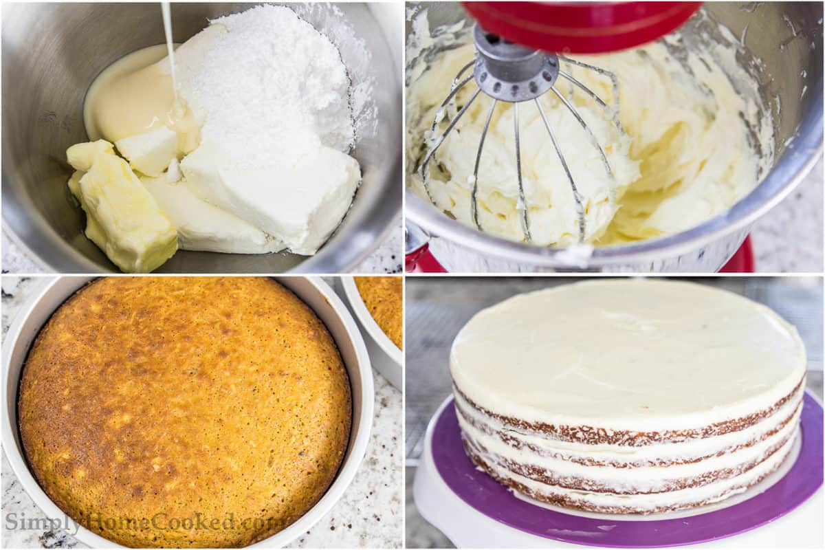 Steps showing how to make cream cheese frosting for carrot cake, including mixing cream and butter with condensed milk and powdered sugar, then layering it on the carrot cake.