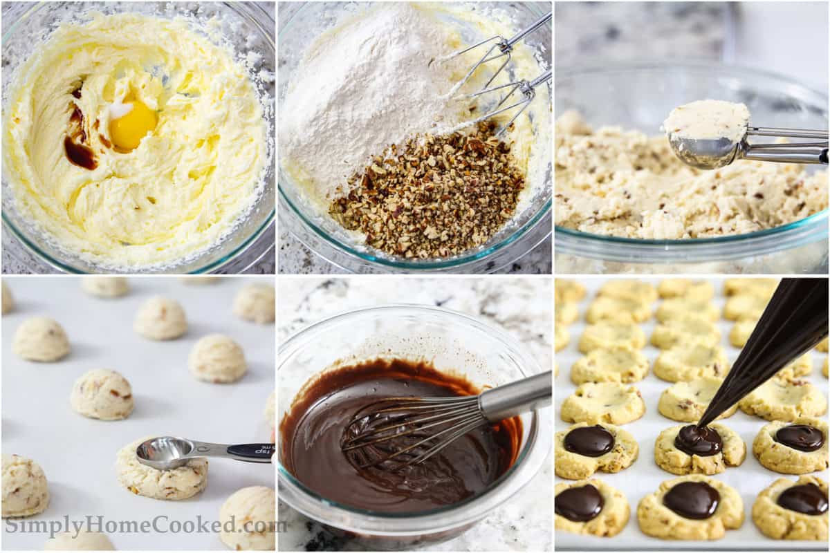 Six tiles showing the steps to make chocolate thumbprint cookies, including mixing eggs into sugar and butter, then adding flour, salt, and pecans, then scooping out the cookies, making thumbprints in them, making ganache, and then piping it onto the cookies.