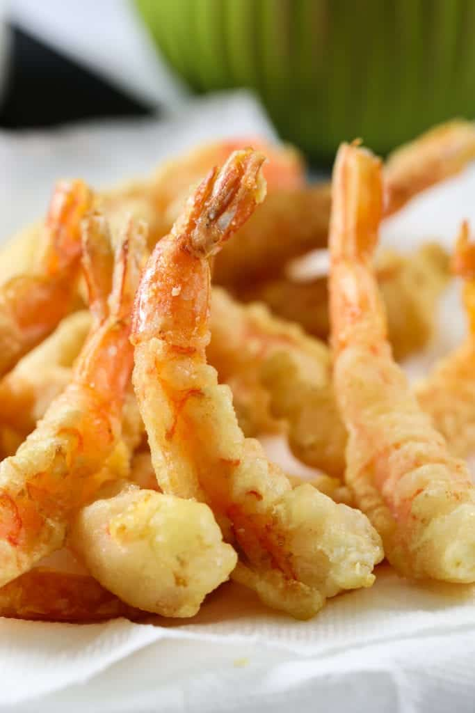 Close up of shrimp tempura in a pile.
