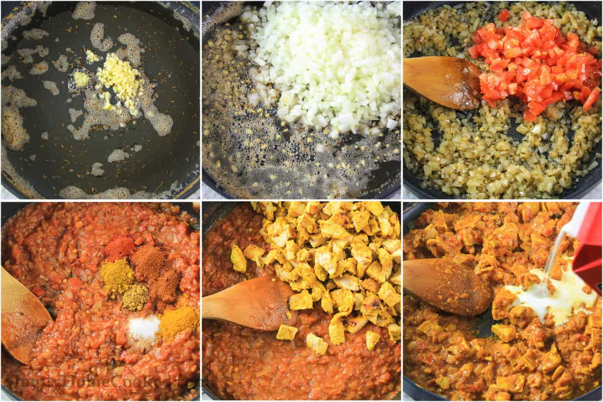 Six tiles showing how to make Indian butter chicken sauce, including cooking garlic in oil and butter, adding onions, tomatoes, and spices, then the chicken and finally the cream.