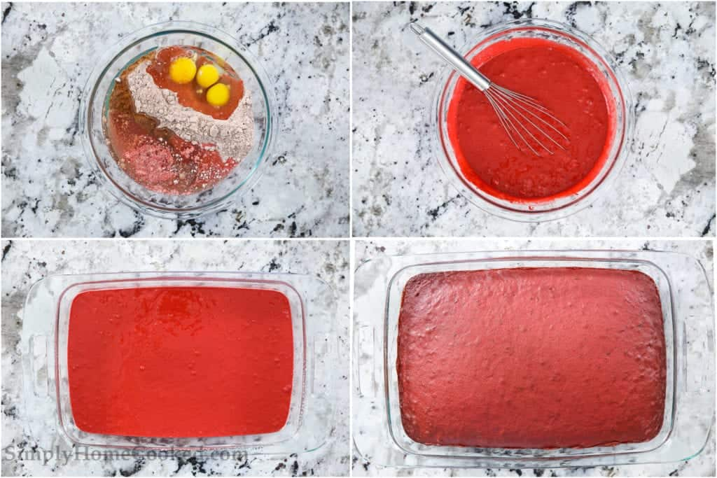Four tiles showing how to make red velvet cake, mixing ingredients, pouring into a cake pan, and baking it.