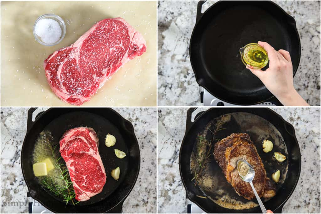 Steps to cook a ribeye steak, including salting it, pouring oil into the cast iron pan, cooking it with butter, garlic, thyme, and rosemary, and then basting the steak as it cooks.